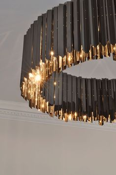 Facet Chandelier Black Nickel Contemporary Lighting Project Tom Kirk