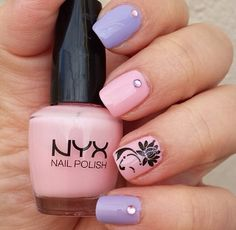 Lavender and baby pink with nail stud accents