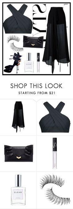 """Party Look #6"" by mutiahrana ❤ liked on Polyvore featuring Ann Demeulemeester, Cushnie Et Ochs, Jimmy Choo, NARS Cosmetics, CLEAN and Trish McEvoy"