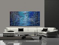 Abstract Painting Large Acrylic Blue Art Emerald Artwork