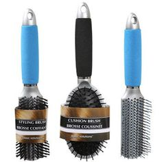 Basic Solutions Assorted Soft Handle Hair Brushes (Set of 3)