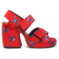 Kenzo the Memento Collection N 1 May Flowers Printed-Velvet Sandals ($420) ❤ liked on Polyvore featuring shoes, sandals, multicolor, multi color sandals, blue sandals, floral print sandals, velvet sandals and floral sandals