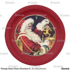 Vintage Santa Claus Christmas Paper Plates