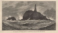 1881 CALF ROCK LIGHTHOUSE BANTRY BAY DESTROYED IN STORM IRELAND Antique Prints, Old Antiques, Calves, Ireland, Victorian, Art Prints, Rock, Lighthouses, Painting