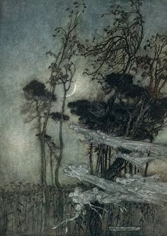 "the moon, like to a silver bow New-bent in heaven ""    Arthur Rackham Illustrations from A Midsummer Night's Dream, by William Shakespeare New York: Doubleday, Page & Co., ?/1"