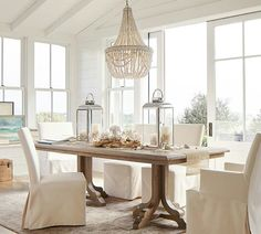 35 Want to Know More About Coastal Dining Room Table Beach Themes - onlyhomely Dining Room Design, Dining Room Table, Small Dining Rooms, Beach Dining Room, Wood Table, Sweet Home, Coastal Living Rooms, Beaded Chandelier, Coastal Chandelier