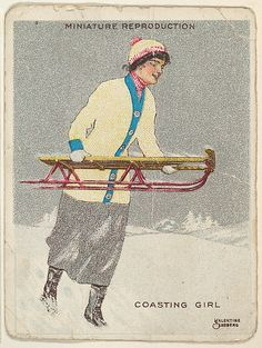 """Valentine Sandberg. Card 317, Coasting Girl, from the series """"Artistic Pictures"""" (T32), issued by Liggett & Myers Tobacco Company to promote Richmond Straight Cut Cigarettes, 1913-14. America. The Metropolitan Museum of Art, New York. The Jefferson R. Burdick Collection, Gift of Jefferson R. Burdick (Burdick 242, T32.6)"""