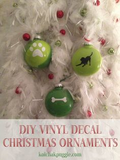 These DIY Vinyl Decal Ornaments are, by far, the easiest Christmas Craft I've made! Great for kids and non crafty people. All you need is plastic Christmas ornaments , a bit of paint and some vinyl decals!