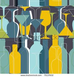stock vector : Seamless pattern with wine bottles and glasses