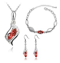 KALIS Plainum-plated Alloy Charm Jewelry Set Pendant Necklace Bangle Bracelet And One Pair Earring Fashion Austria Crystal Jewelry Set High Quality Gurantee KALIS http://www.amazon.com/dp/B00YOFX52C/ref=cm_sw_r_pi_dp_sfLLvb152ZWRX