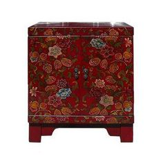 Chinese Red Lacquer Color Flowers End Table