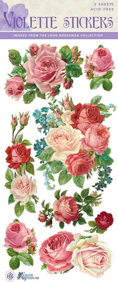 Beautiful Vintage Red Rose Stickers for Crafting-2 by tcastle1