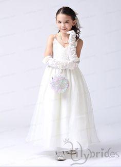 Princess Spaghetti Organza Satin Ankle Length Flower Girl Dress