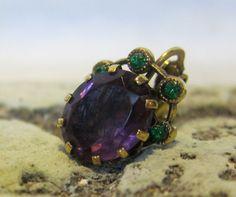 Vintage 1940s Czech Earrings in Purple and Green / by BasyaBerkman, $30.00