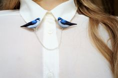 Hey, I found this really awesome Etsy listing at https://www.etsy.com/listing/512350973/cardigan-clip-blue-bird-brooch-collar