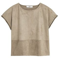 Mango Fringed Edges Top, Khaki