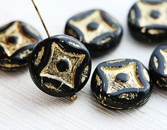 Black and Gold Coin beads glass beads Black beads by MayaHoney