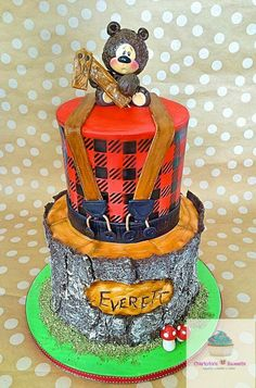 Lumberjack Birthday Tree Cupcakes Bluebird Box Co Parties - Buffalo birthday cake