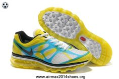 low priced ecbf4 3cf6f Buy 487982-107 Mens Nike Air Max 2012 White Black Lemon Twist Current Blue  For