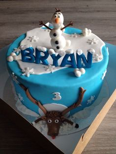 Superb 95 Best Olaf Cake Images Olaf Cake Frozen Birthday Frozen Cake Birthday Cards Printable Inklcafe Filternl