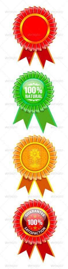 Award rosette set. Vector illustration