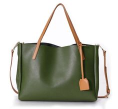 "La Poet Women's Cowhide 2 in 1 Bucket Tote Bag with Removable Pouch (Olive). Full grains cowhide leather with structured and soft hand feel. A perfect color with contrasting straps which make it very special. The perfect size, it stands up on its own. Cotton twill lining made inside sturdy and good construction to hold all your essentials. For 14"" laptop, magazine, legal file, I-pad, sketchbook, umbrella and a bottle of water. A bag that fits all occasions. Generous size for carrying all..."