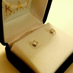 14K White Gold 1/2 Carat Diamond Earrings So hard to give these up but I need to make money, like yesterday!! - princess cut diamond solitaire earrings - worn a few times and cleaned - so classy and ready to gift or wear! - comes in original box - Original receipt available Kay Jewelers Jewelry Earrings