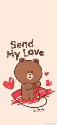 Line Brown Bear, Brown Line, Lines Wallpaper, Brown Wallpaper, Hd Wallpapers For Mobile, Cute Wallpapers, Greeting Words, Rilakkuma Wallpaper, Cony Brown