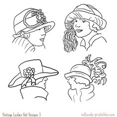 Vintage Ladies Hat Designs at www.milliande-printables.com from our Vintage Womens Hat Printables  free to print and download