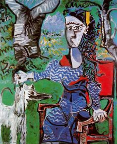 Woman with dog under a tree, Oil by Pablo Picasso (1881-1973, Spain)