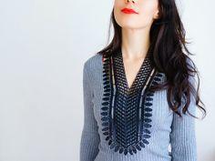 NECKLACE // Laenas // Handmade Black Floral Lace Necklace Applique Chain Statement Blouse Accessories Bib Necklace Venise Lace Gold on Etsy, $42.00