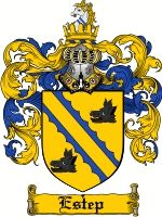 Estep Coat of Arms / Estep Family Crest  This French given name of ESTEP was originally derived from the Greek Stephanos, meaning 'crown'. T...