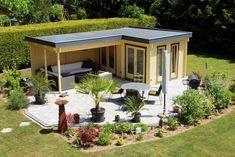 Kundenbild: Pultdach Gartenhaus Maria-40 mit Anbau & Schleppdach ISO
