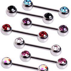 316L Surgical Steel CZ Ball Nipple Bar