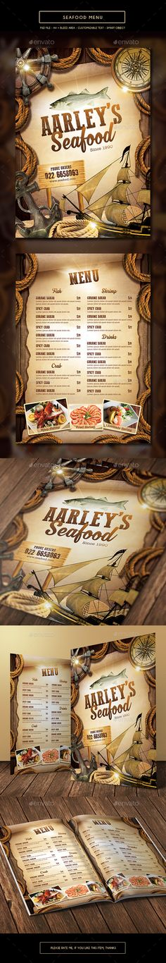 Seafood Menu Template PSD. Download here: http://graphicriver.net/item/seafood-menu-template/15723952?ref=ksioks