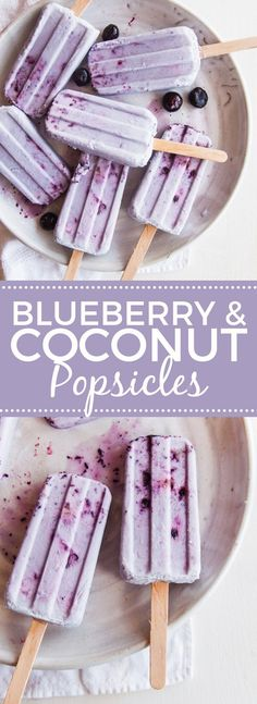 Coconut Blueberry Smash Pops -- vegan and paleo Frozen Desserts, Frozen Treats, Vegan Desserts, Delicious Desserts, Yummy Food, Paleo Dessert, Dessert Recipes, Damn Delicious Recipes, Frozen Cookies