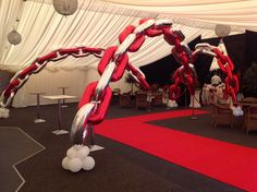 Arch constructed from foil zeros @ Coombe Abbey Hotel , Coventry