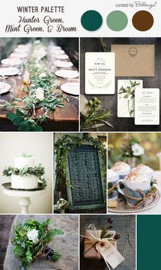 Winter wedding with rustic hues in hunter green, mint green, and brown. Includes a leafy table setting, bridal bouquet, and hot chocolate tray. See the full post: http://www.bellenza.com/wedding-ideas/decorate/rustic-winter-wedding-palette-hunter-green-mint-green-and-brown.html
