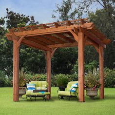 10 x 10 Pergola turns your patio into a naturally shaded oasis by letting vines and roses grow across this pergola's arbors. This beautiful 10 x 10 pergola is made from cedar Diy Pergola, Cedar Pergola, Building A Pergola, Pergola Canopy, Pergola Swing, Pergola With Roof, Outdoor Pergola, Pergola Shade, Backyard Patio