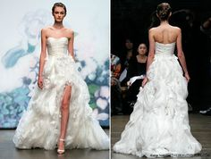 Monique Lhuillier. She is one of my top favourite bridal designer today. So it is of no surprise, I chose to wear a Monique Lhuillier for my own wedding! Her bridal collection signifies such a prevalent understanding of the desire for a bride-to-be to look not just the very best.     Here is her Fall 2012 designs, Bouquet. The strapless gown features silk chiffon and embroidered silk organza with lightly draped bodice. The textured floral skirt with front slit is the real show stopper!