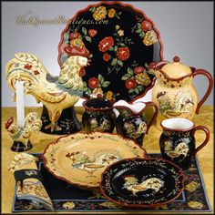 I love these dishes ~ so beautiful  for my toile and rooster kitchen!