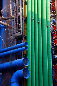 Beaubourg, Paris, France Pompidou centre- Industrial architecture and exposed coloured pipes