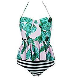 69bccf8751 Cocoship Pink   Forest Green Leaves   Black Striped Peplum Women s Retro  Push Up High Waist Bikini Set Chic Swimsuit Swimwear M(FBA)