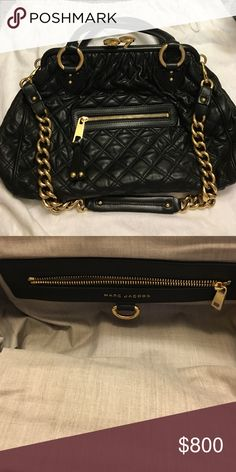 """Marc Jacobs Stam Quilted Leather Satchel Bag Very good condition . Quilted lambskin with brass hardware. Tote handles; 5"""" drop. Removable leather-chain-link shoulder strap, 12"""" drop. Frame top with kiss-lock closure. Exterior, zip pocket. Interior, one zip pocket and one open pocket. Metal feet protect bottom. 10""""H x 16""""W x 4""""D; weighs approx. 2lb. 6oz. Made in Italy. Marc Jacobs Bags Satchels"""