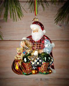 MacKenzie-Childs Checking It Twice Santa Christmas Ornament