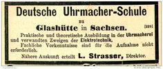 Original-Werbung/ Anzeige 1897 - DEUTSCHE UHRMACHER-SCHULE/ GLASHÜTTE SACHSEN…