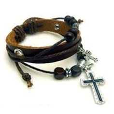 leather and cross bracelet