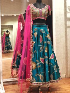 Bridal CollectionEmerald Green Rawsilk lehenga with hand embroidered detailings!!!...WhatsApp +91-9949944178 or e-mail to info@issastudio.com for more information 07 November 2018 Indian Bridal Outfits, Indian Bridal Lehenga, Indian Bridal Fashion, Indian Dresses, Wedding Outfits, Wedding Salwar Suits, Punjabi Wedding, New Style Suits, Patiala Salwar
