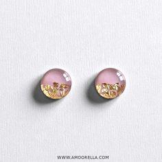Limited Edition Mauve & Gold Flake Stud Earrings by Amoorella Jewelry www.Amoorella.com
