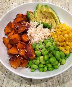"teriyaki cauliflower ""rice"" bowl vegan / edamame / sweet potato / cauliflower / healthy dinner / corn / avocado / dinner recipes / vegetarian / asian inspired / teriyaki"